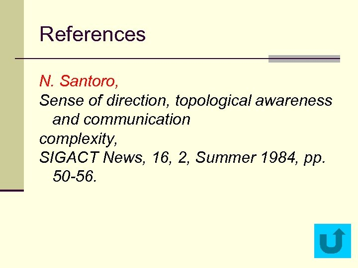 References N. Santoro, Sense of direction, topological awareness and communication complexity, SIGACT News, 16,