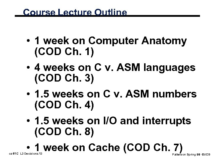 Course Lecture Outline • 1 week on Computer Anatomy (COD Ch. 1) • 4