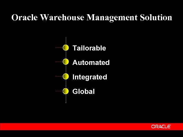 Oracle Warehouse Management Solution Tailorable Automated Integrated Global