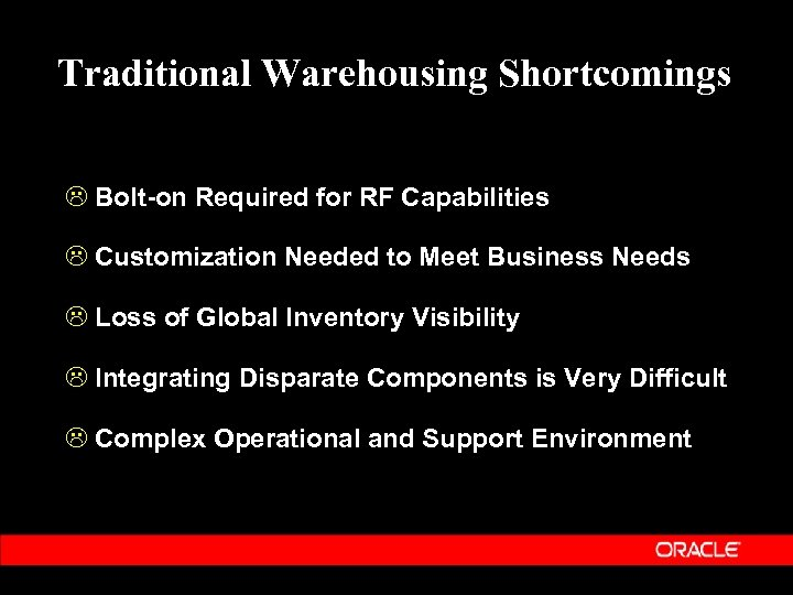 Traditional Warehousing Shortcomings L Bolt-on Required for RF Capabilities L Customization Needed to Meet