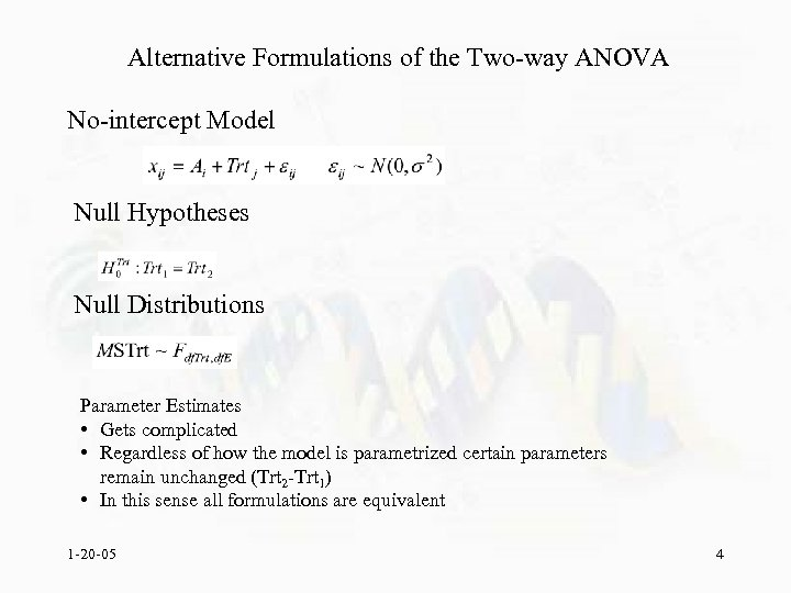 Alternative Formulations of the Two-way ANOVA No-intercept Model Null Hypotheses Null Distributions Parameter Estimates
