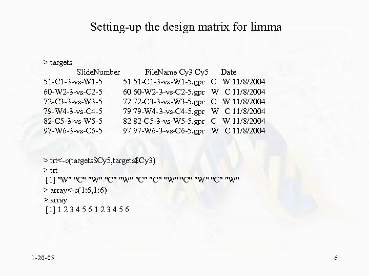 Setting-up the design matrix for limma > targets Slide. Number 51 -C 1 -3