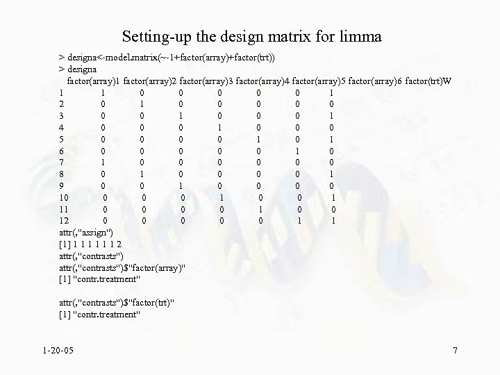 Setting-up the design matrix for limma > designa<-model. matrix(~-1+factor(array)+factor(trt)) > designa factor(array)1 factor(array)2 factor(array)3