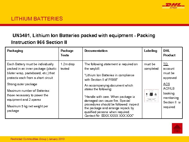 LITHIUM BATTERIES UN 3481, Lithium Ion Batteries packed with equipment - Packing Instruction 966
