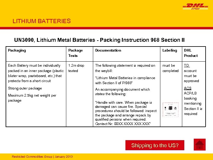 LITHIUM BATTERIES UN 3090, Lithium Metal Batteries - Packing Instruction 968 Section II Packaging