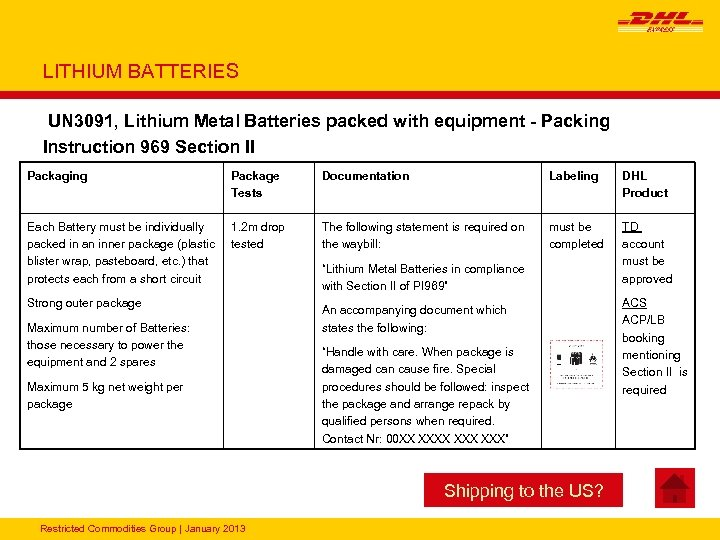 LITHIUM BATTERIES UN 3091, Lithium Metal Batteries packed with equipment - Packing Instruction 969