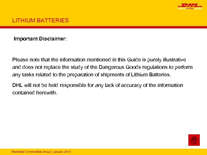 LITHIUM BATTERIES Important Disclaimer: Please note that the information mentioned in this Guide is