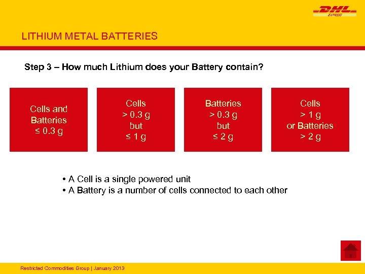 LITHIUM METAL BATTERIES Step 3 – How much Lithium does your Battery contain? Cells