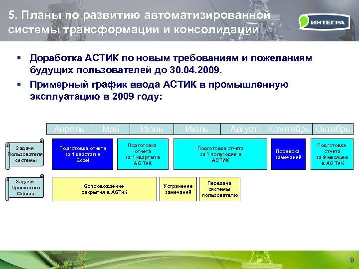 5. Планы по развитию автоматизированной системы трансформации и консолидации § Доработка АСТИК по новым