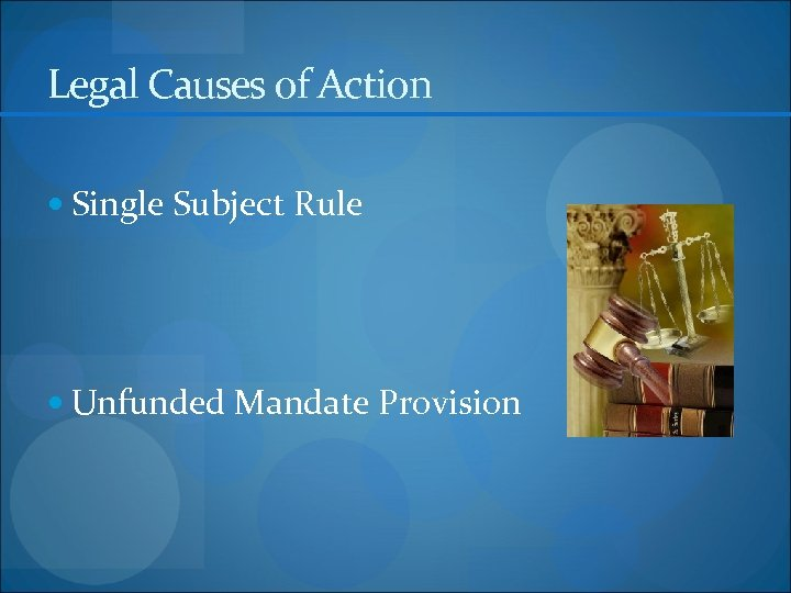 Legal Causes of Action Single Subject Rule Unfunded Mandate Provision