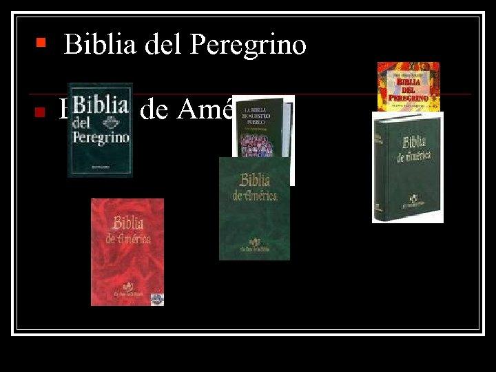 § Biblia del Peregrino n Biblia de América