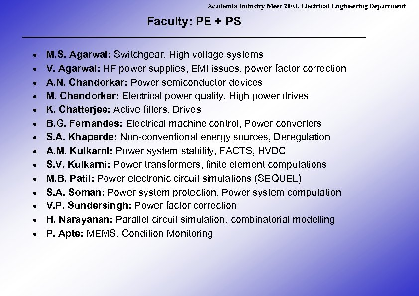 Academia Industry Meet 2003, Electrical Engineering Department Faculty: PE + PS · · ·