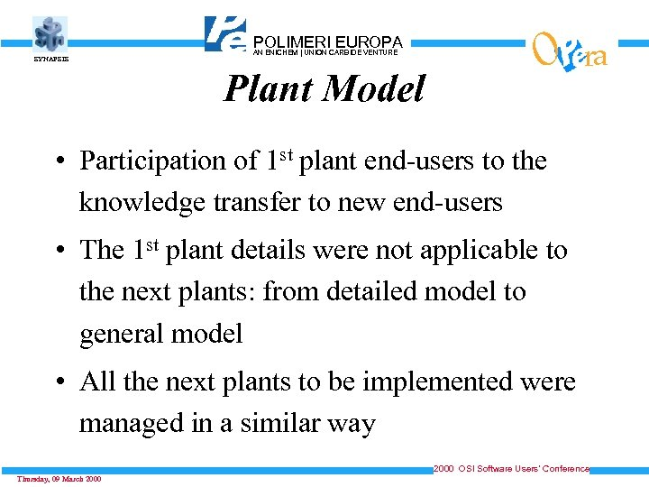 SYNAPSIS POLIMERICARBIDE VENTURE EUROPA AN ENICHEM   UNION Plant Model O ra • Participation