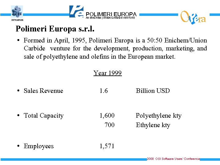 SYNAPSIS O POLIMERICARBIDE VENTURE EUROPA AN ENICHEM   UNION Polimeri Europa s. r. l.