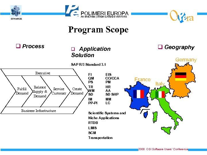 O POLIMERICARBIDE VENTURE EUROPA AN ENICHEM   UNION SYNAPSIS Program Scope q Process ra