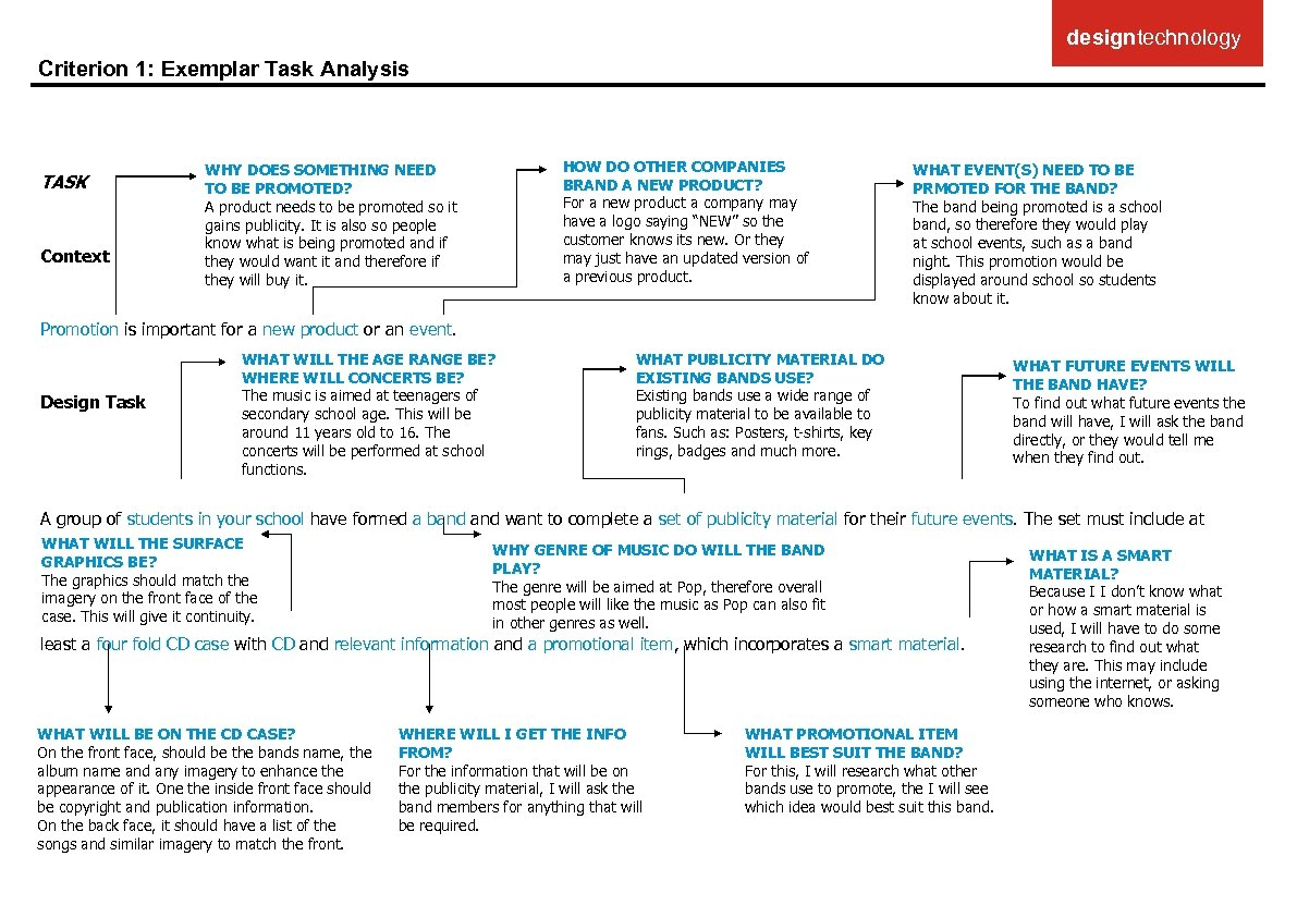 designtechnology Criterion 1: Exemplar Task Analysis TASK Context HOW DO OTHER COMPANIES BRAND A