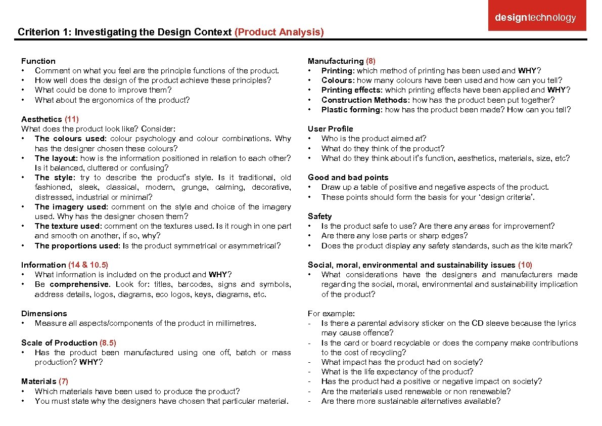 designtechnology Criterion 1: Investigating the Design Context (Product Analysis) Function • Comment on what