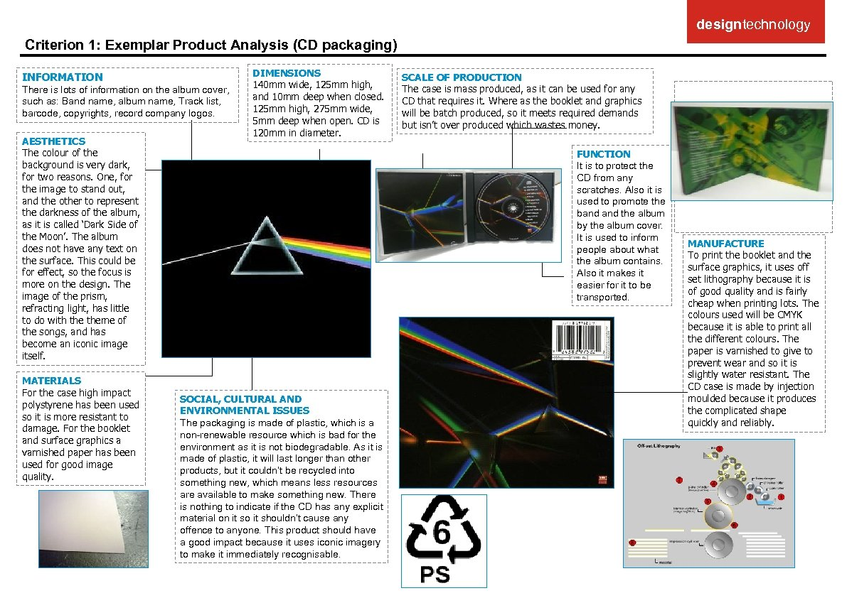 designtechnology Criterion 1: Exemplar Product Analysis (CD packaging) INFORMATION There is lots of information