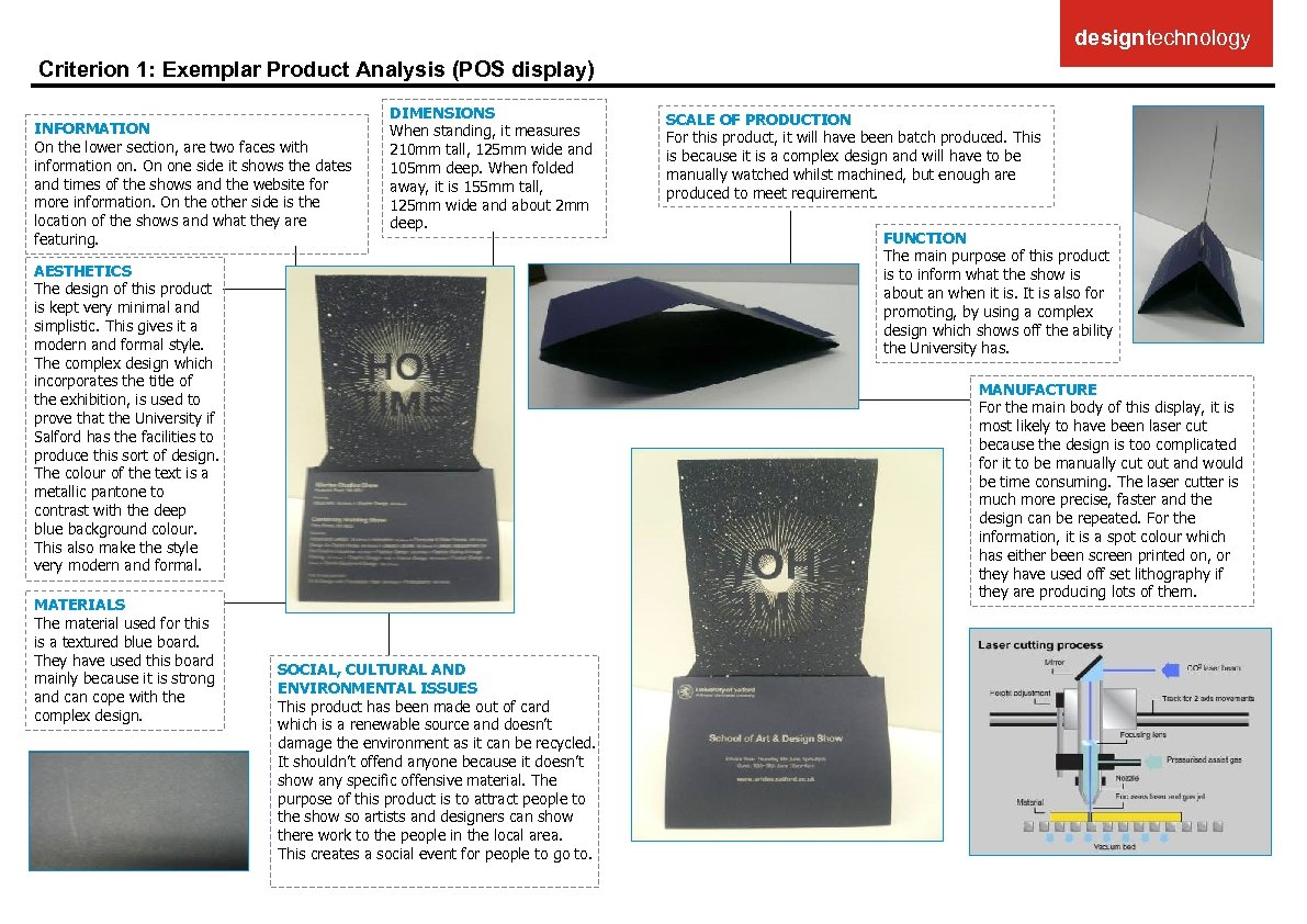 designtechnology Criterion 1: Exemplar Product Analysis (POS display) INFORMATION On the lower section, are