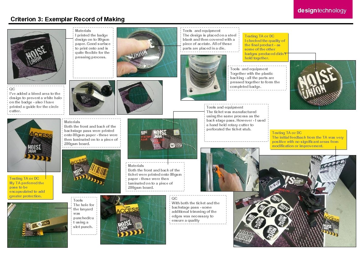 designtechnology Criterion 3: Exemplar Record of Making Materials I printed the badge design on