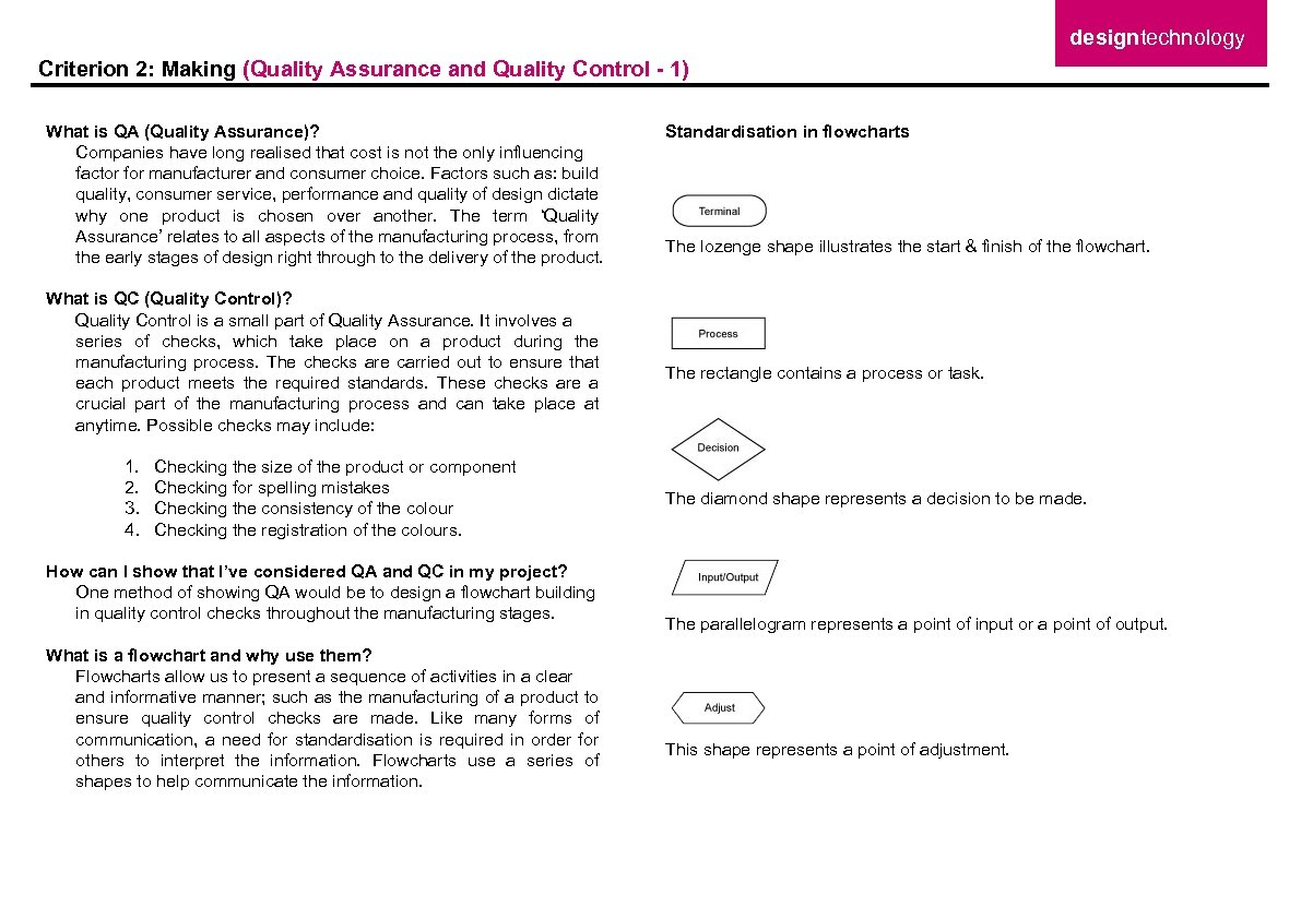 designtechnology Criterion 2: Making (Quality Assurance and Quality Control - 1) What is QA