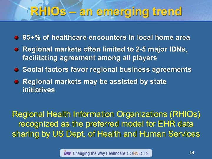 RHIOs – an emerging trend 85+% of healthcare encounters in local home area Regional