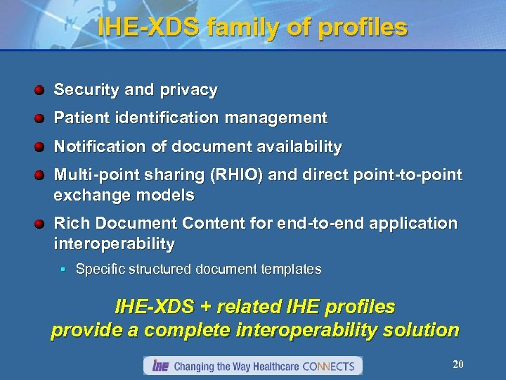 IHE-XDS family of profiles Security and privacy Patient identification management Notification of document availability