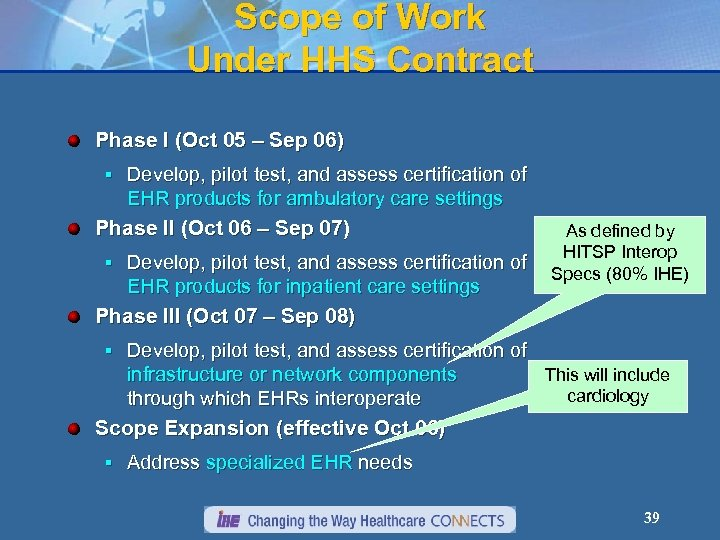 Scope of Work Under HHS Contract Phase I (Oct 05 – Sep 06) §