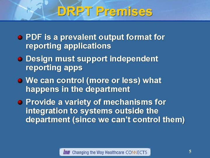 DRPT Premises PDF is a prevalent output format for reporting applications Design must support