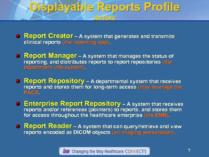 Displayable Reports Profile Actors Report Creator – A system that generates and transmits clinical