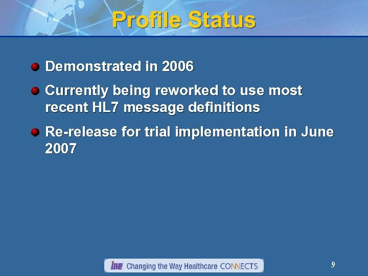 Profile Status Demonstrated in 2006 Currently being reworked to use most recent HL 7