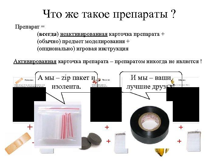 Что же такое препараты ? Препарат = (всегда) неактивированная карточка препарата + (обычно) предмет