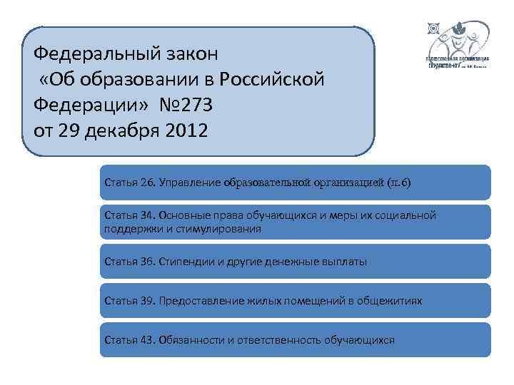 Федеральный закон «Об образовании в Российской Федерации» № 273 от 29 декабря 2012 Статья