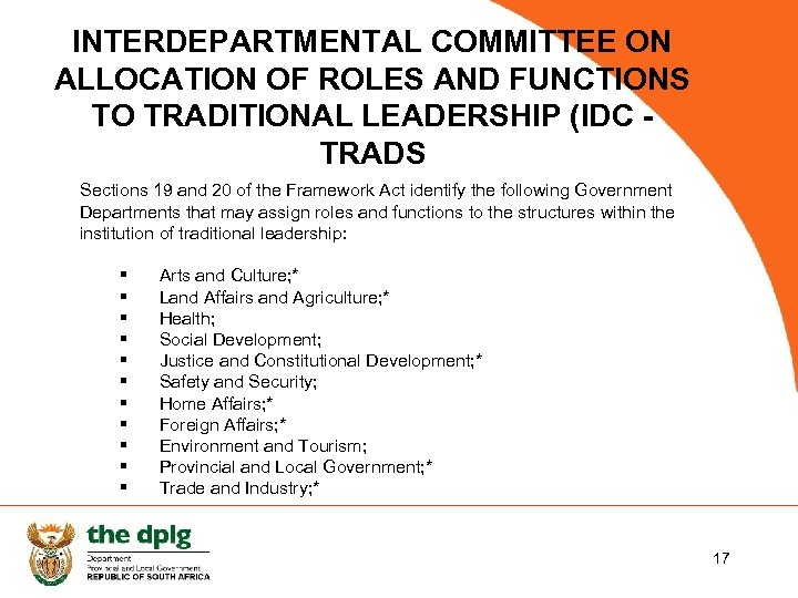 INTERDEPARTMENTAL COMMITTEE ON ALLOCATION OF ROLES AND FUNCTIONS TO TRADITIONAL LEADERSHIP (IDC TRADS Sections