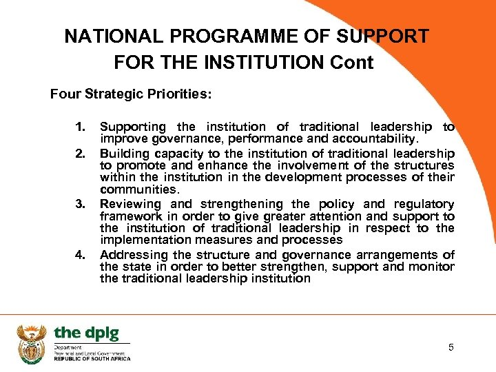 NATIONAL PROGRAMME OF SUPPORT FOR THE INSTITUTION Cont Four Strategic Priorities: 1. 2. 3.