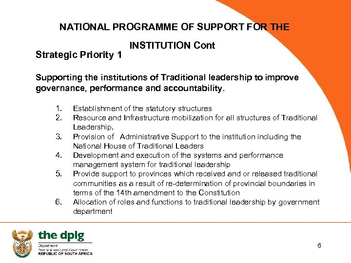 NATIONAL PROGRAMME OF SUPPORT FOR THE Strategic Priority 1 INSTITUTION Cont Supporting the institutions