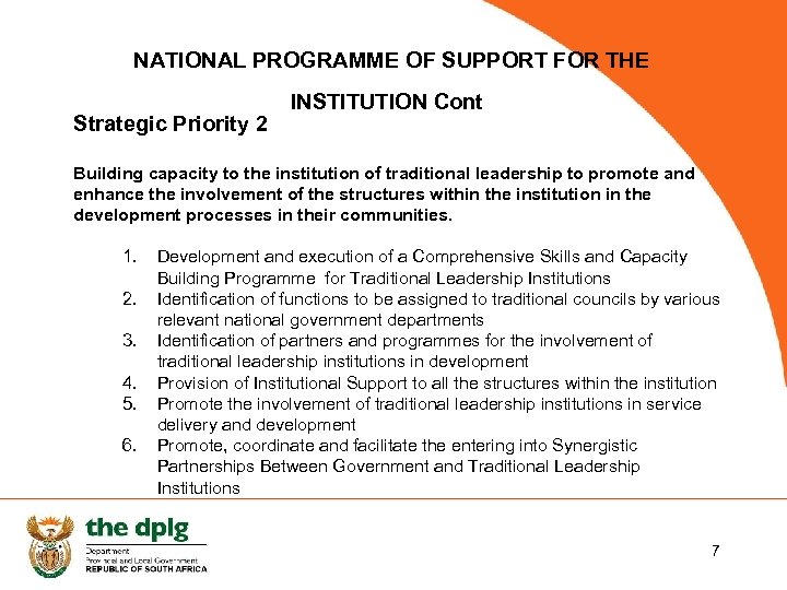 NATIONAL PROGRAMME OF SUPPORT FOR THE Strategic Priority 2 INSTITUTION Cont Building capacity to