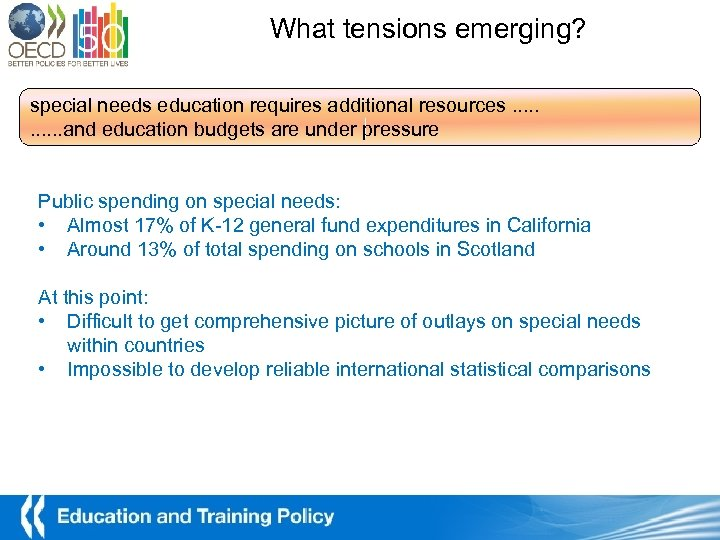 What tensions emerging? special needs education requires additional resources. . . and education budgets