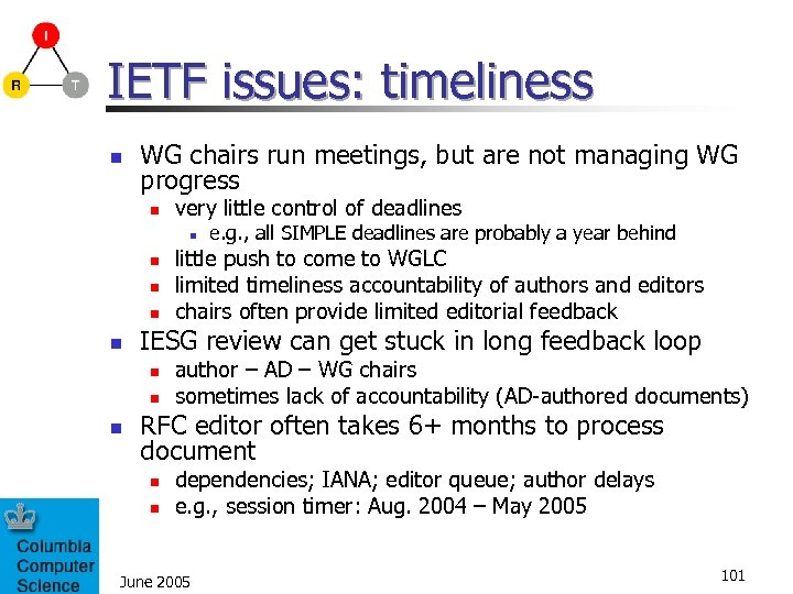 IETF issues: timeliness n WG chairs run meetings, but are not managing WG progress