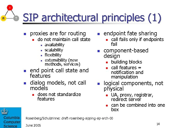 SIP architectural principles (1) n proxies are for routing n do not maintain call