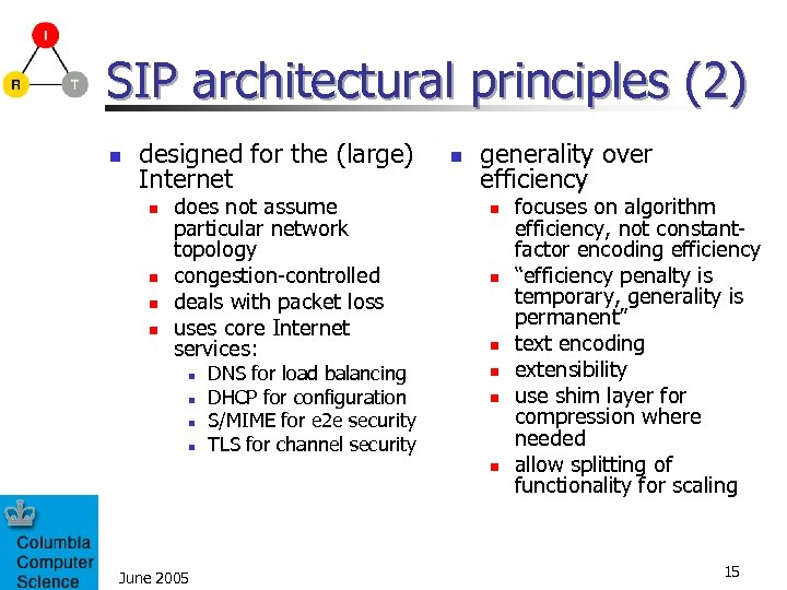 SIP architectural principles (2) n designed for the (large) Internet n n does not