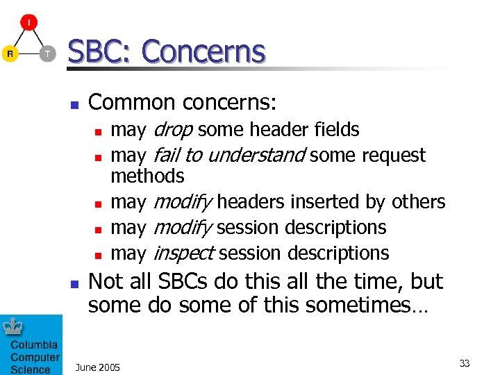 SBC: Concerns n Common concerns: n n n may drop some header fields may