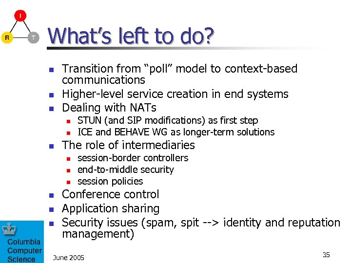 "What's left to do? n n n Transition from ""poll"" model to context-based communications"