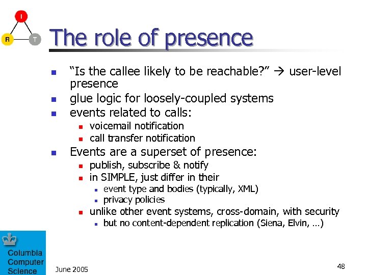"The role of presence n n n ""Is the callee likely to be reachable?"