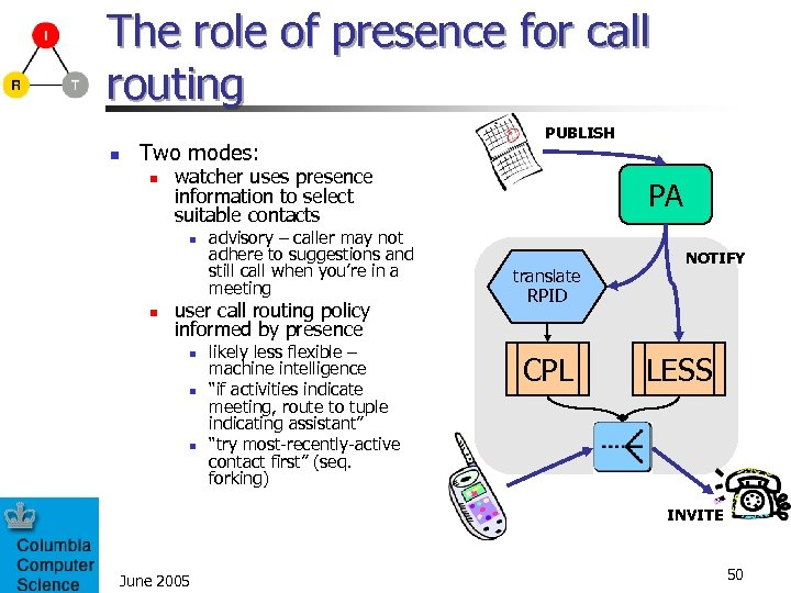 The role of presence for call routing n Two modes: n watcher uses presence