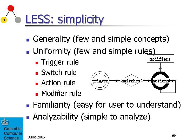 LESS: simplicity n n Generality (few and simple concepts) Uniformity (few and simple rules)