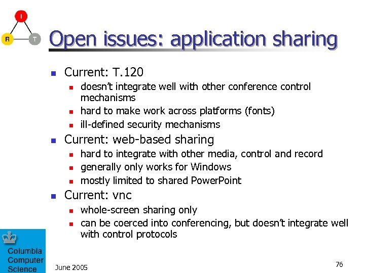 Open issues: application sharing n Current: T. 120 n n Current: web-based sharing n