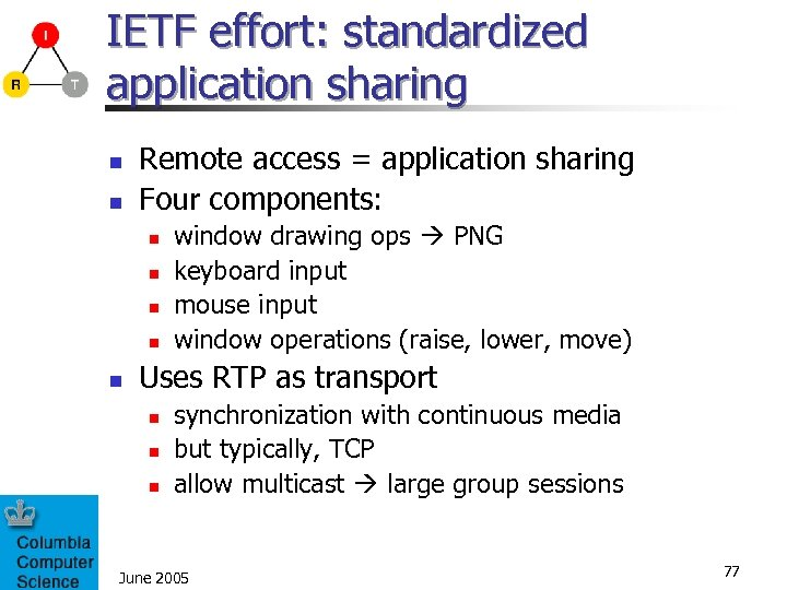 IETF effort: standardized application sharing n n Remote access = application sharing Four components: