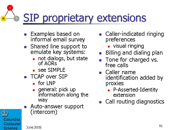 SIP proprietary extensions n n Examples based on informal email survey Shared line support