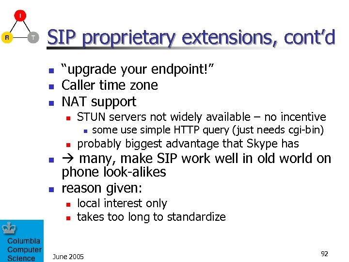 "SIP proprietary extensions, cont'd n n n ""upgrade your endpoint!"" Caller time zone NAT"